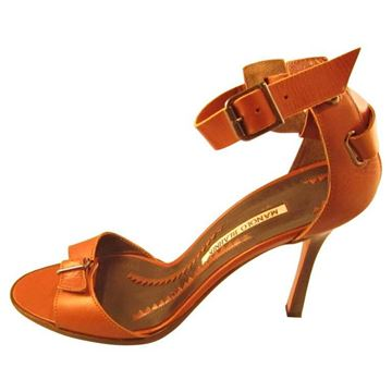 Manolo Blahnik Buckle Detail Brown Vintage Leather Pumps Heels