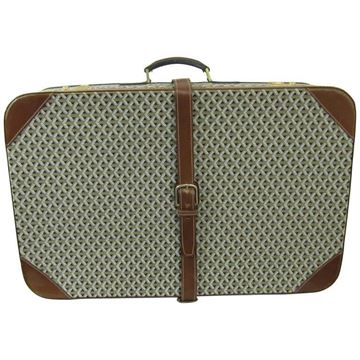 Goyard 1960s Leather Detail Beige Vintage Canvas Suitcase
