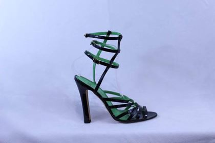 Manolo Blahnik Black and Green Sandals in Patented leather