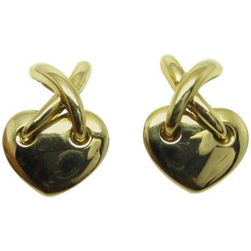 Chaumet Hearts Link 18ct Gold Vintage Clip Earrings