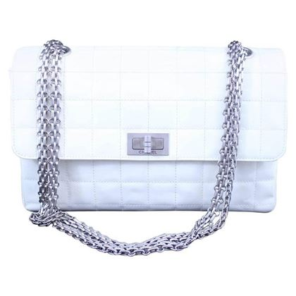 Chanel 2.55 Patented Leather Bag Silver Hardware
