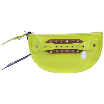 Alexander McQueen Stud Detail Lime Green Vintage Patent Leather Clutch Bag