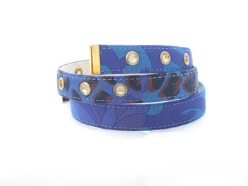 Pucci Flower Print Silk and Leather Blue Vintage Belt