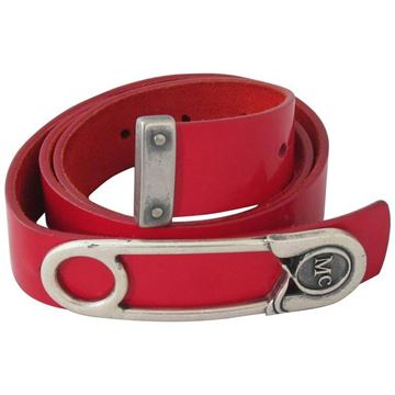 Alexander McQueen Safety Pin Red Patent Leather Vintage Belt