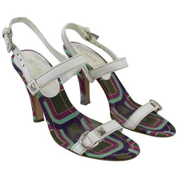 Prada Contrast Sole White Vintage Leather and Canvas Heels Sandals