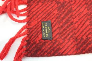 Louis Vuitton Fringed Red Vintage Cashmere Scarf