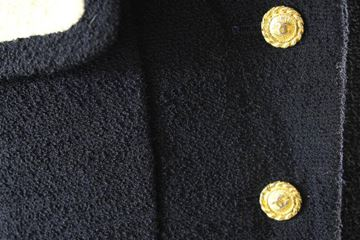 Chanel 1980s Contrast Collar Navy Vintage Skirt Suit
