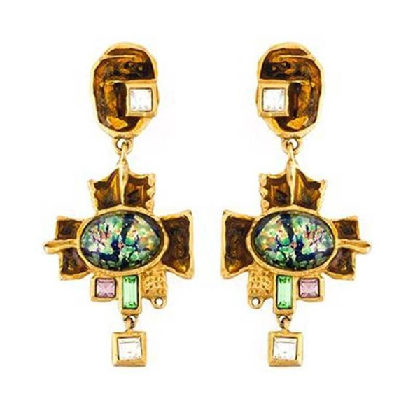 Christian Lacroix Cross Crystal Embellished Gold Tone Vintage Earrings