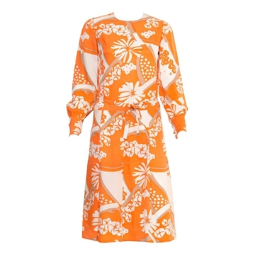 Philippe Venet 1970s Silk Floral Print Orange Vintage Midi Dress