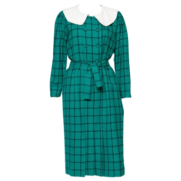 Pierre Cardin 1960s Check Green Vintage Midi Dress