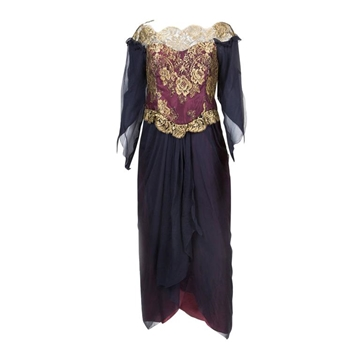 Zandra Rhodes 1980s Gold Lace & Georgette Black and Bordeaux Red Vintage Evening Lace Dress