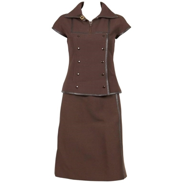 Courreges 1960s Iconic Couture Future brown vintage skirt Suit