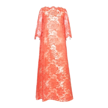 Guy Laroche 1960s A Line Mandarin Orange Lace Vintage Evening Dress