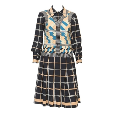 Lanvin 1970s Zig Zag Vest and Checked Black Vintage Midi Dress
