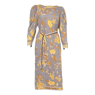 Leonard 1970s Floral Print Wool Grey Vintage Midi Dress