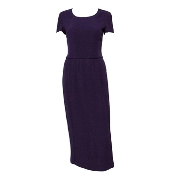 Chanel Wool Crepe Short Sleeved Purple Vintage Midi dress