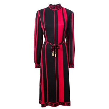 Leonard 1970s Silk Jersey Striped Red and Black Vintage Midi Dress
