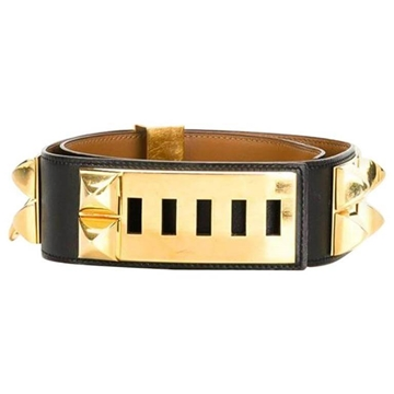 Hermes 1990s Collier de Chien Medor Calfskin Leather Black Vintage Belt