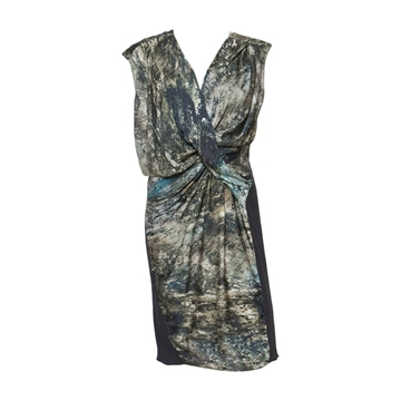 Helmut Lang 1990s Abstract Print Silk Twisted and Draped Vintage Midi Dress