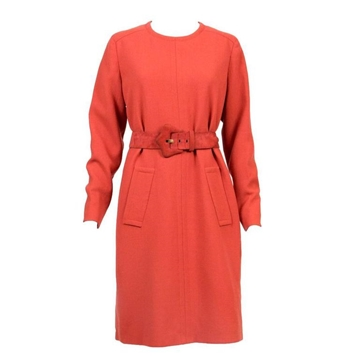 Givenchy Haute Couture 1960s Belted wool crepe Rust Red Vintage Midi Dress