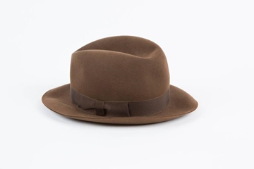 Hermes Wool Grosgrain Band Brown Vintage Feodora Hat