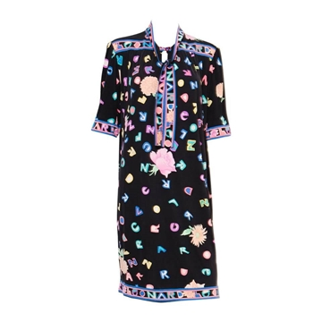 Leonard 1970s Multicolour Letters Logo Print Silk Black Vintage Dress