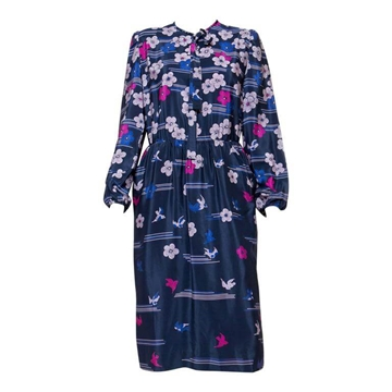 Lanvin 1970s Silk Floral Printed Blue Vintage Midi Dress