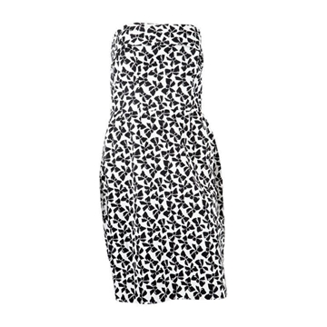 Yves Saint Laurent 1990s Strapless Bow Print Black and White Vintage Cocktail Dress