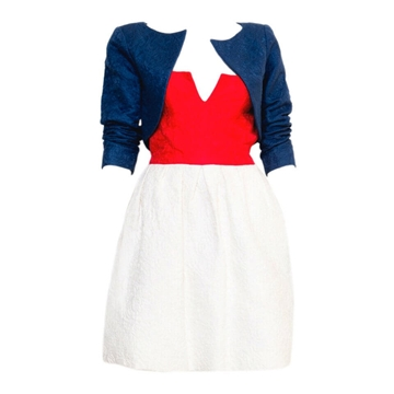 Yves Saint Laurent 1990s Strapless blue red white vintage Cocktail Set