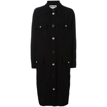 Moschino Wool Oversized Black Vintage Shirt Dress