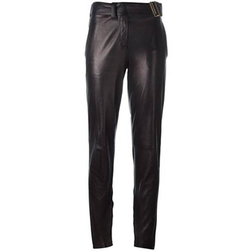 Yves Saint Laurent Lambskin leather Black Metallic vintage Trousers
