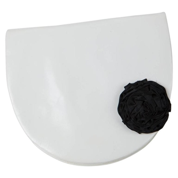 Andrea Pfister Leather & satin flower detail white vintage Clutch bag