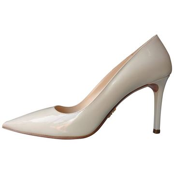 Prada Pointy Patent Leather White Heels Pumps