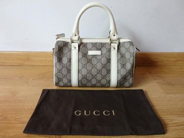 Gucci Small Joy Boston Monogram Pattern Grey Vintage Handbag