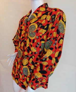 Celine 1980s Planet Print Silk Red Vintage Shirt