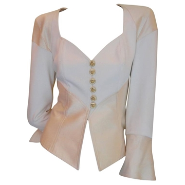 Christian Lacroix  1980s Silk Beige and White Vintage Bustier Jacket