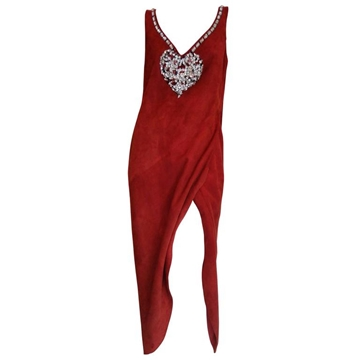 Christian Dior 1970s Jewel Heart Suede Red Vintage Maxi Dress