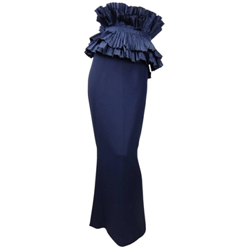 Christian Dior Haute Couture 1980s Removable Ruffle Peplum Dark Blue Vintage Skirt