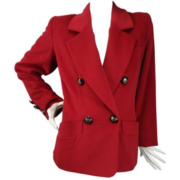 Yves Saint Laurent Rive Gauche 1980s Wool and Cashmere Burgundy Red Vintage Jacket