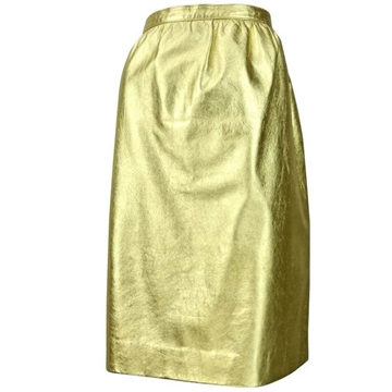 Christian Dior 1980s Leather Gold vintage Skirt