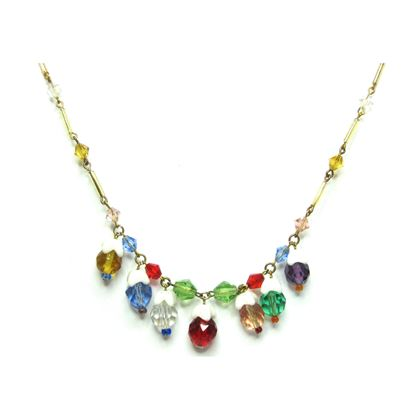 Vintage 1930s Art Deco Multicoloured Glass Necklace