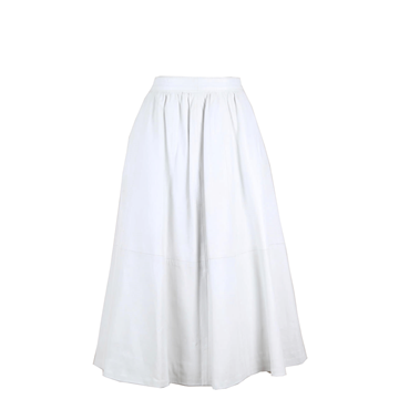 Vintage 1980s smooth leather off-white midi skirt