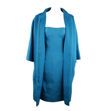 Versace 2007 collection Wool turquoise blue vintage Bustier Dress & coat set