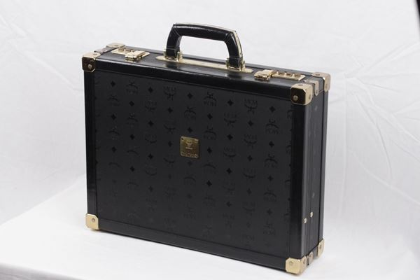 MCM Munchen Logo Canvas and Leather Black Vintage Briefcase