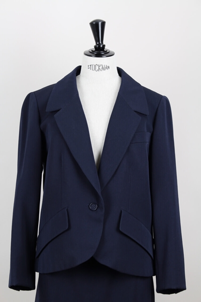 Christian Dior Spring-Summer 1989 wool navy blue vintage skirt suit