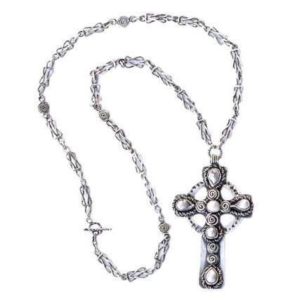 Vintage 1970s ilver & Baroque Pearl Celtic Cross & Chain