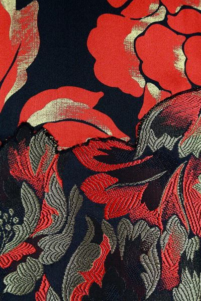 Galanos 1980s floral silk satin &brocade black & red vintage dress