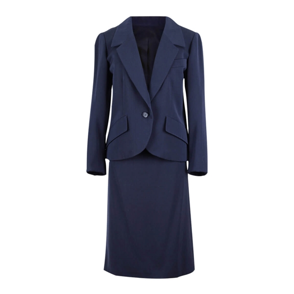 Picture of Christian Dior Spring-Summer 1989 wool navy blue vintage skirt suit