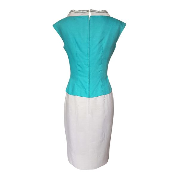 vintage 1960s linen Turquoise and white cocktail dress