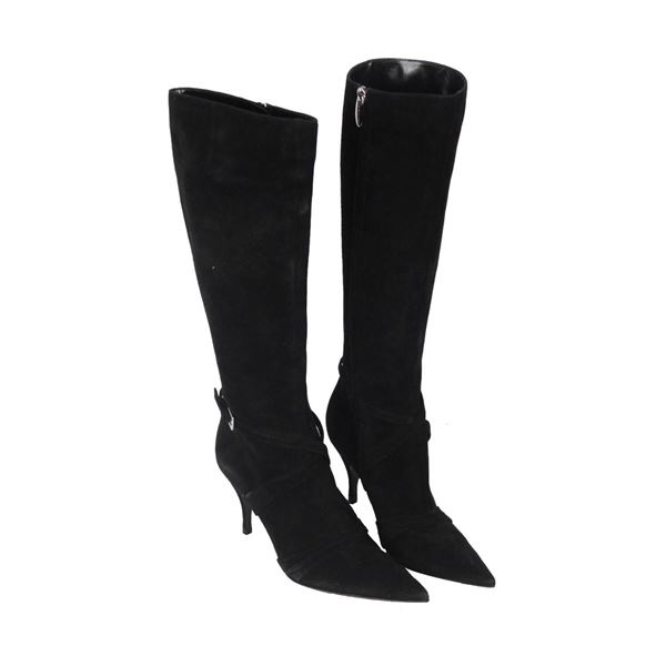 Sergio Rossi Black Suede Heeled Boots Shoes Size 37